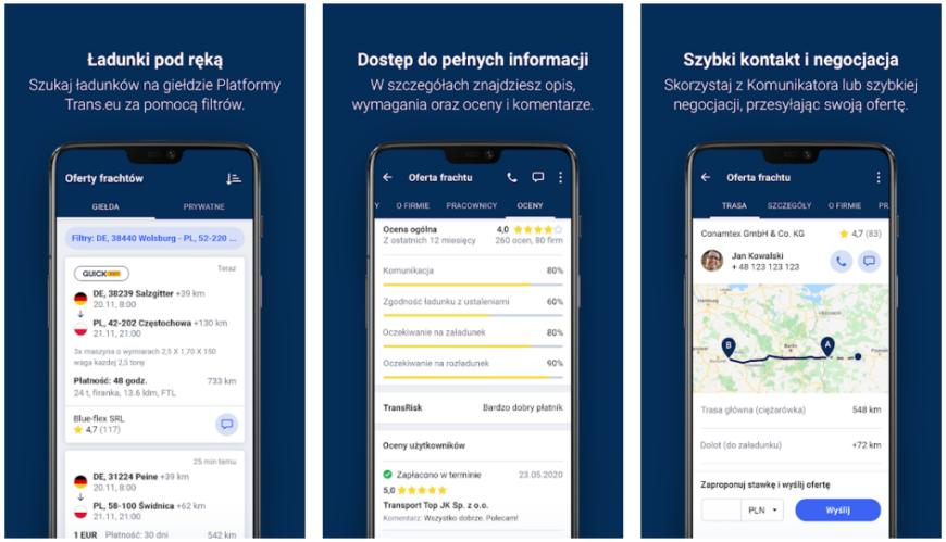 Loads2GO! – aplikacja mobilna dla klientów Platformy Trans.eu